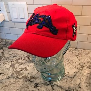 Sprouse USA baseball cap with crystals.